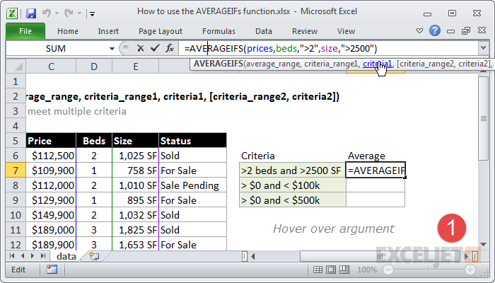 Hover over the argument in the formula screen tip