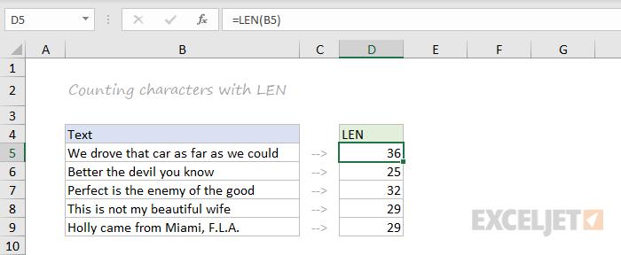 LEN function example