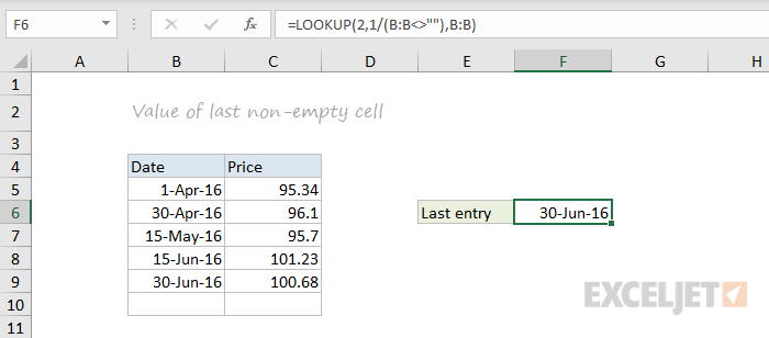 LOOKUP function example - last non-empty cell