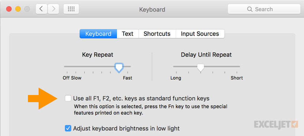 Mac keyboard preference for function keys