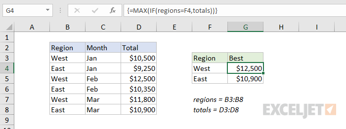 Formula criteria for simple array formula