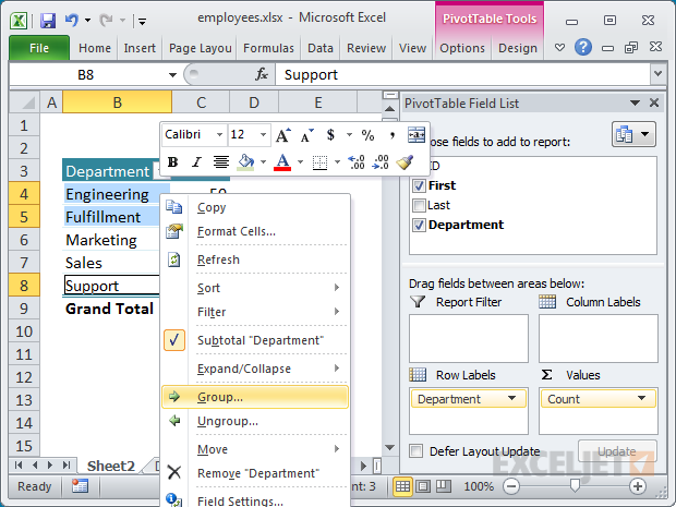 Excel Pivot Tables | Exceljet