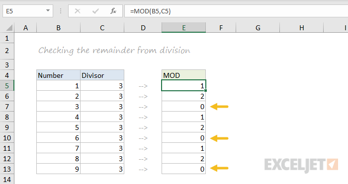 MOD function example