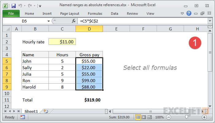 Select all formula cells to apply named range to
