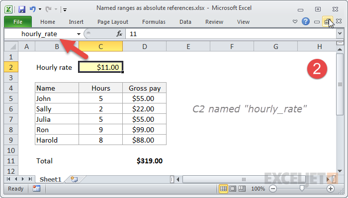 """Naming cell C2 """"hourly_rate"""""""