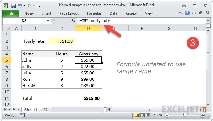 Formula updated to use named range