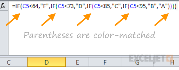 Formula parentheses are color-matched but hard to see