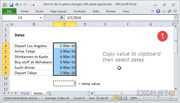 Copy temp value and select dates