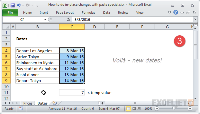 29 Ways To Save Time With Excel Formulas Exceljet. All Dates Moved Forward By 7 Days. Worksheet. Edit Worksheet Name Excel Shortcut At Clickcart.co