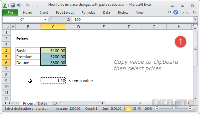 Copy temp value and select prices