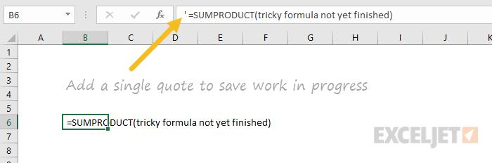 Save formula in progress
