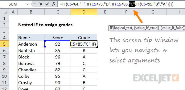 Navigate and select formula arguments with the screen tip