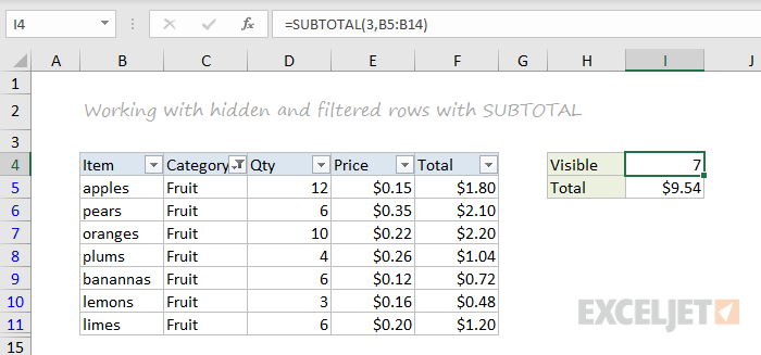 SUBTOTAL function example