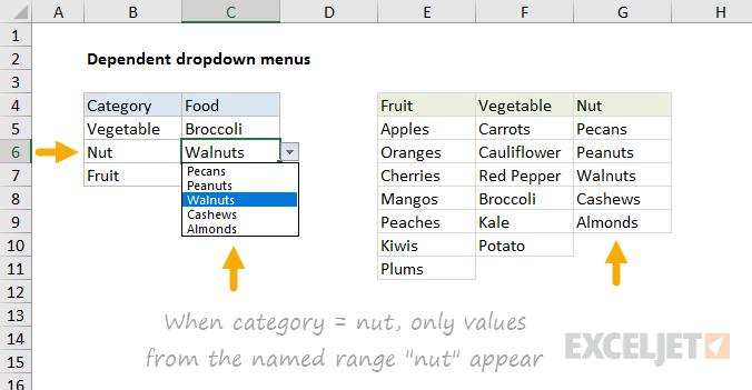 How to make dependent dropdown lists in Excel | Exceljet
