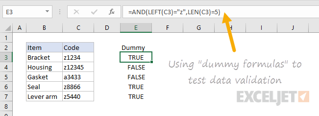 Testing data validation with dummy formulas