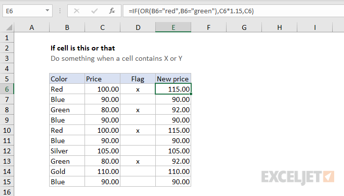 IF function example - increase price if color is red or green