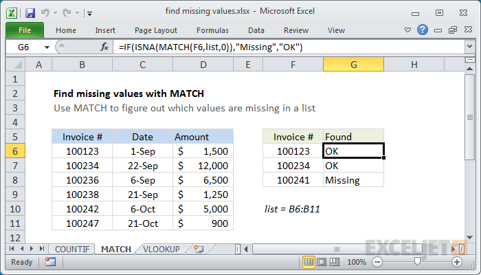 Using the MATCH function to find missing values in a column
