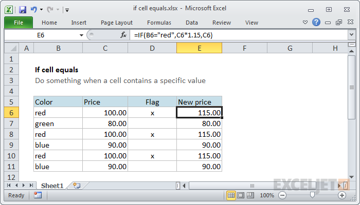 IF function example - increase price if color is red