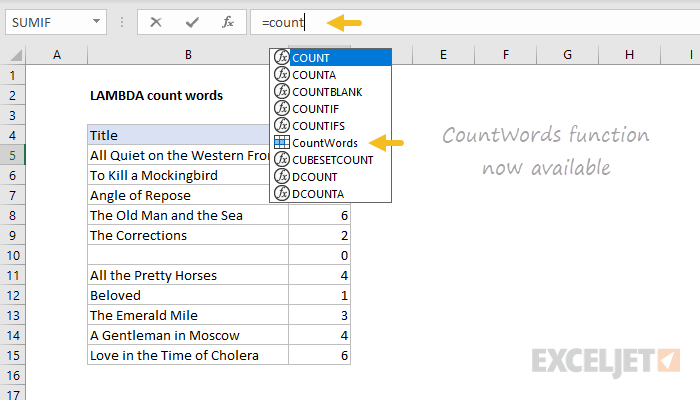 Custom CountWords function now available