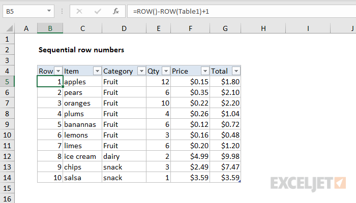 Sequential row numbers in Excel Table