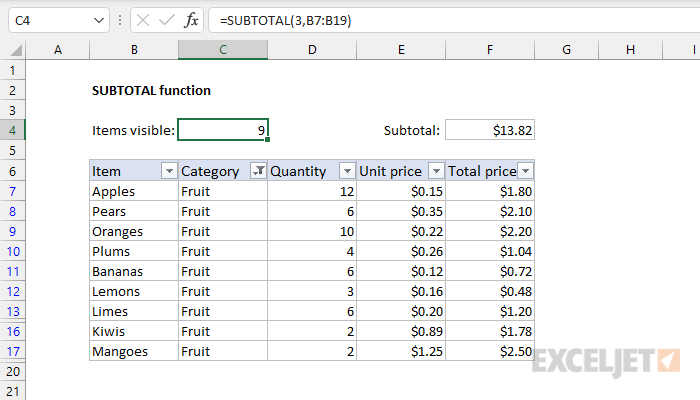 Excel SUBTOTAL function