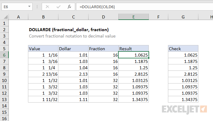 Excel DOLLARDE function