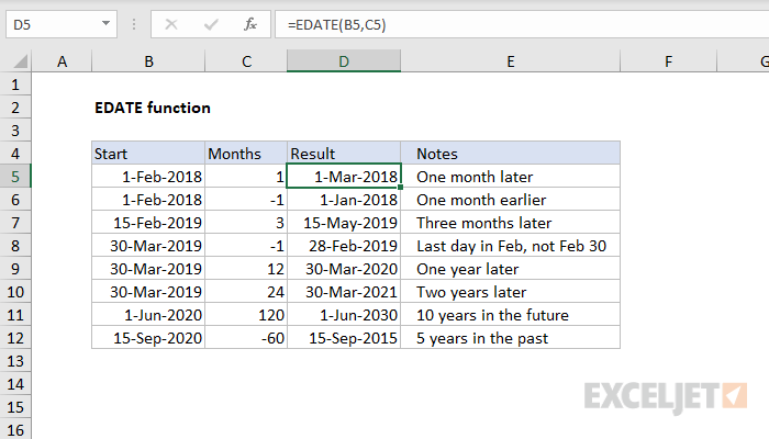 How to use the Excel EDATE function | Exceljet