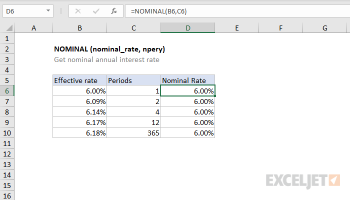 Excel NOMINAL function