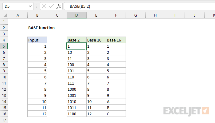 Excel BASE function
