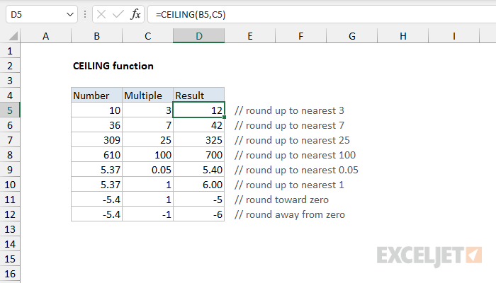Excel CEILING function