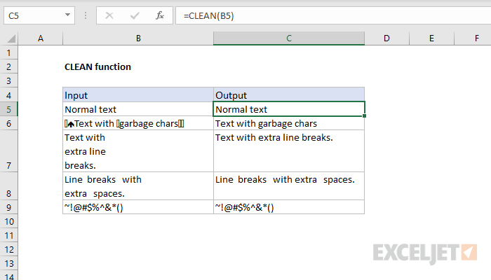 Excel CLEAN function