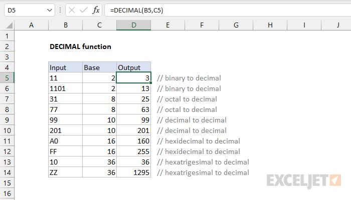 Excel DECIMAL function