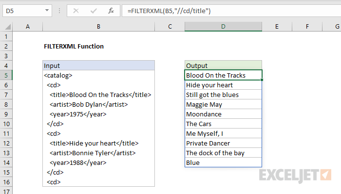 Excel FILTERXML function