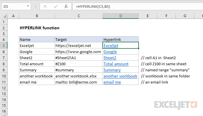 Excel HYPERLINK function