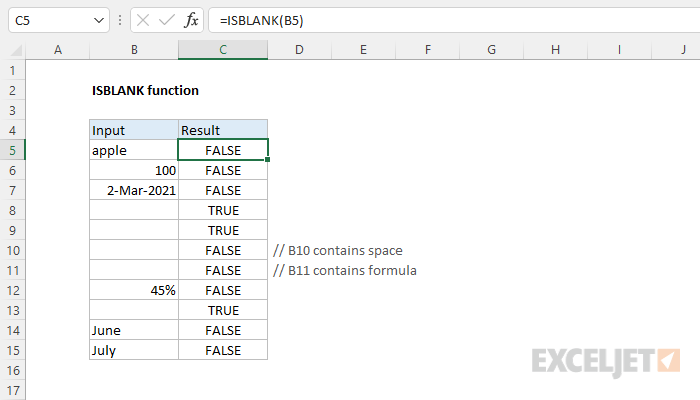 Excel ISBLANK function