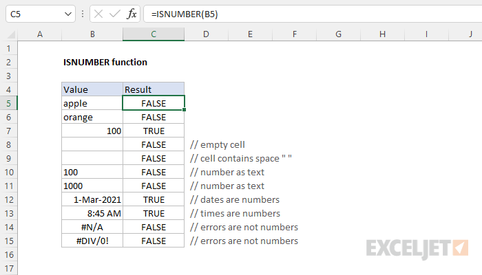 How To Use The Excel Isnumber Function Exceljet