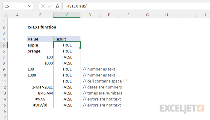 Excel ISTEXT function
