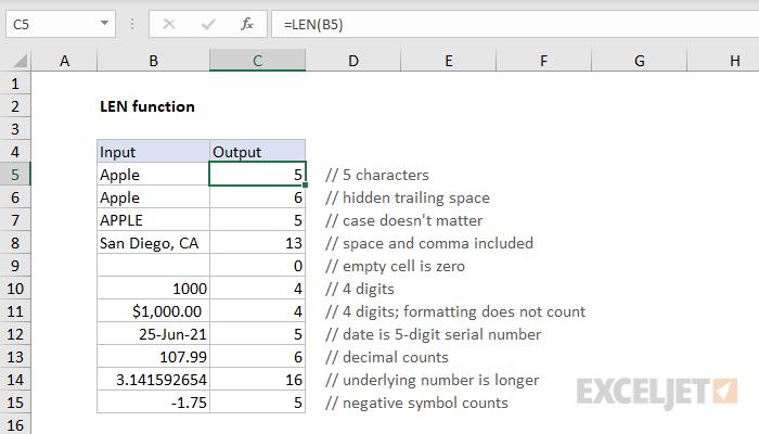 Excel LEN function