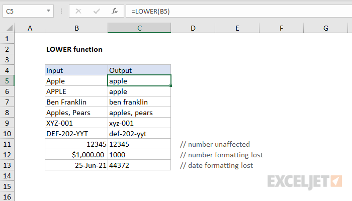 Excel LOWER function