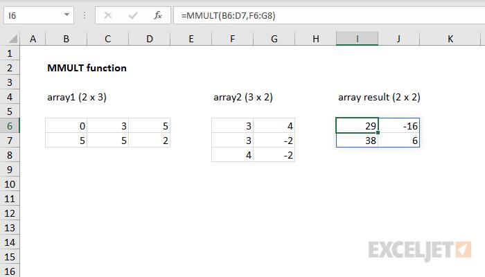 Excel MMULT function