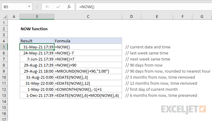 Excel NOW function