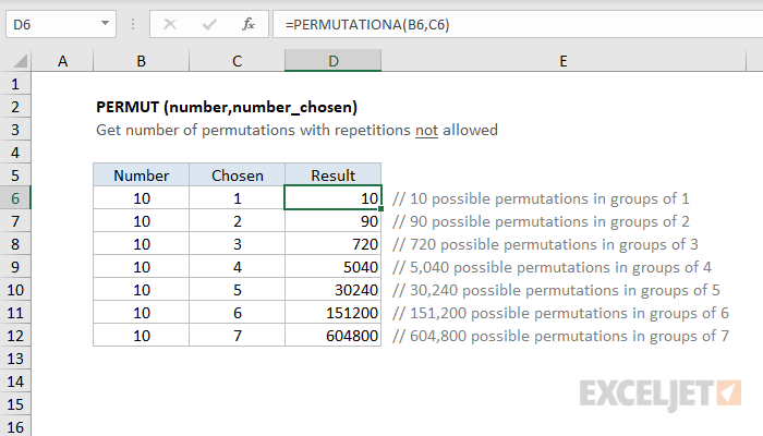 Excel PERMUT function