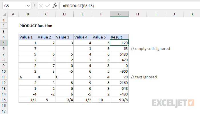 Excel PRODUCT function