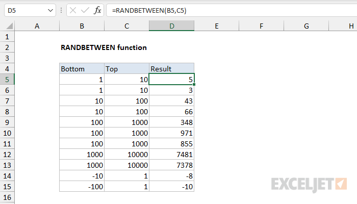 Excel RANDBETWEEN function