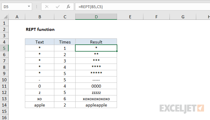 Excel REPT function