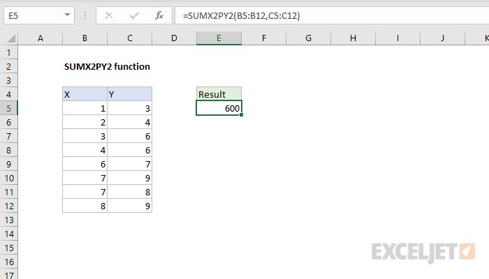 Excel SUMX2PY2 function