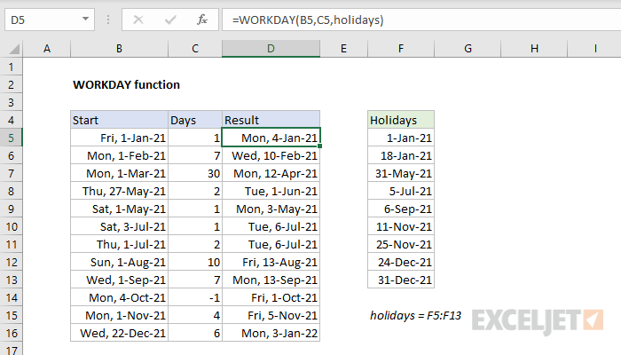 Excel WORKDAY function