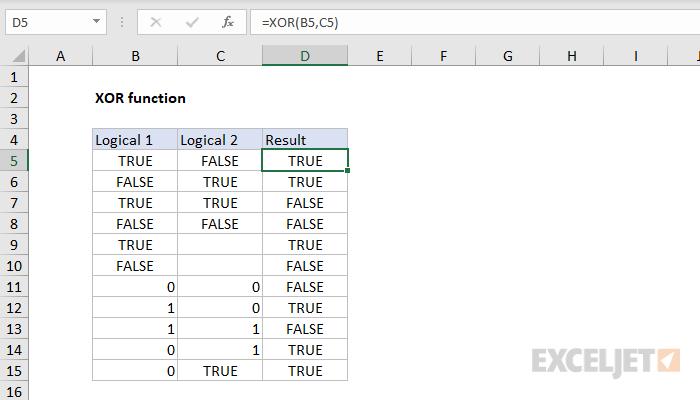 Excel XOR function
