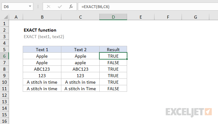 Excel EXACT function
