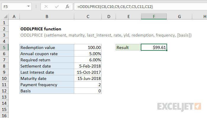 Excel ODDLPRICE function